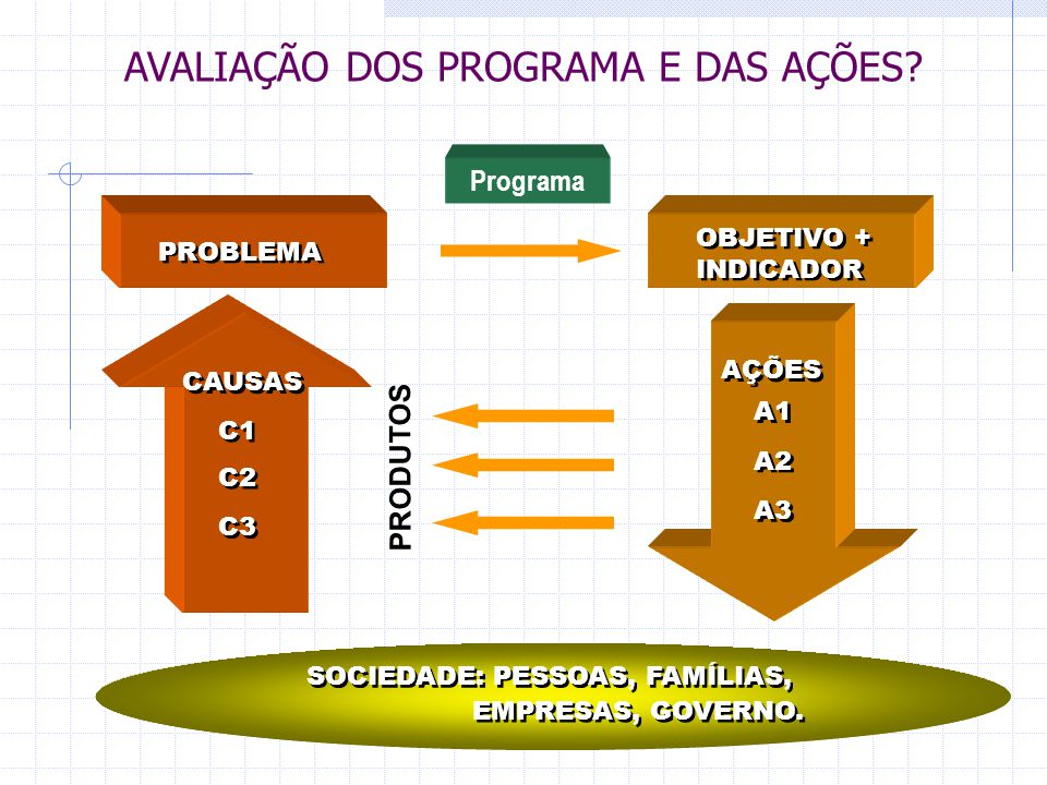 PROBLEMA CAUSAS C1 C2 C3 OBJETIVO + INDICADOR OBJETIVO + INDICADOR AÇÕES A1 A2 A3 SOCIEDADE: PESSOAS, FAMÍLIAS, EMPRESAS, GOVERNO. Programa AVALIAÇÃO