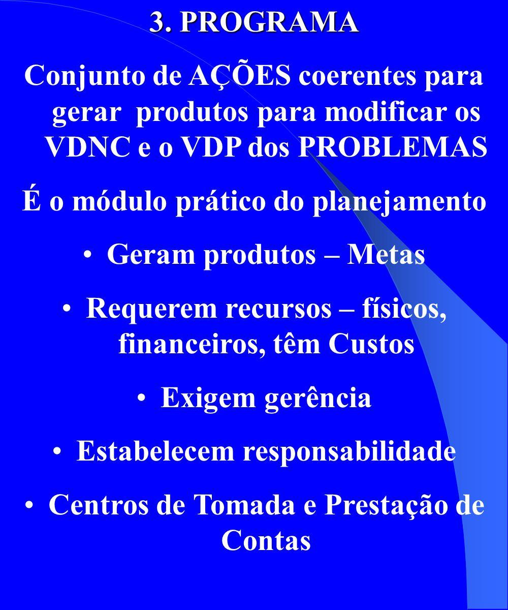 3. PROGRAMA Conjunto de AÇÕES coerentes para gerar produtos para modificar os VDNC e o VDP dos PROBLEMAS É o módulo prático do planejamento Geram prod