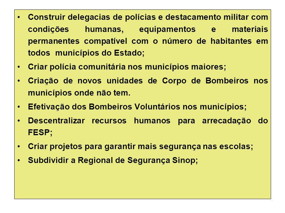 Construir delegacias de polícias e destacamento militar com condições humanas, equipamentos e materiais permanentes compatível com o número de habitan
