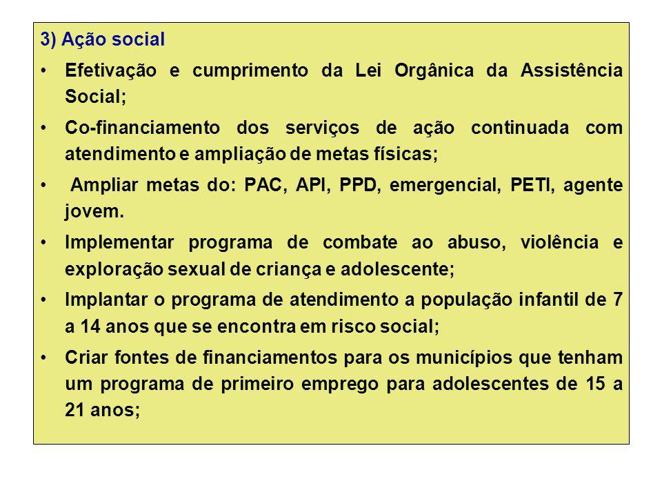 3) Ação social Efetivação e cumprimento da Lei Orgânica da Assistência Social; Co-financiamento dos serviços de ação continuada com atendimento e ampl
