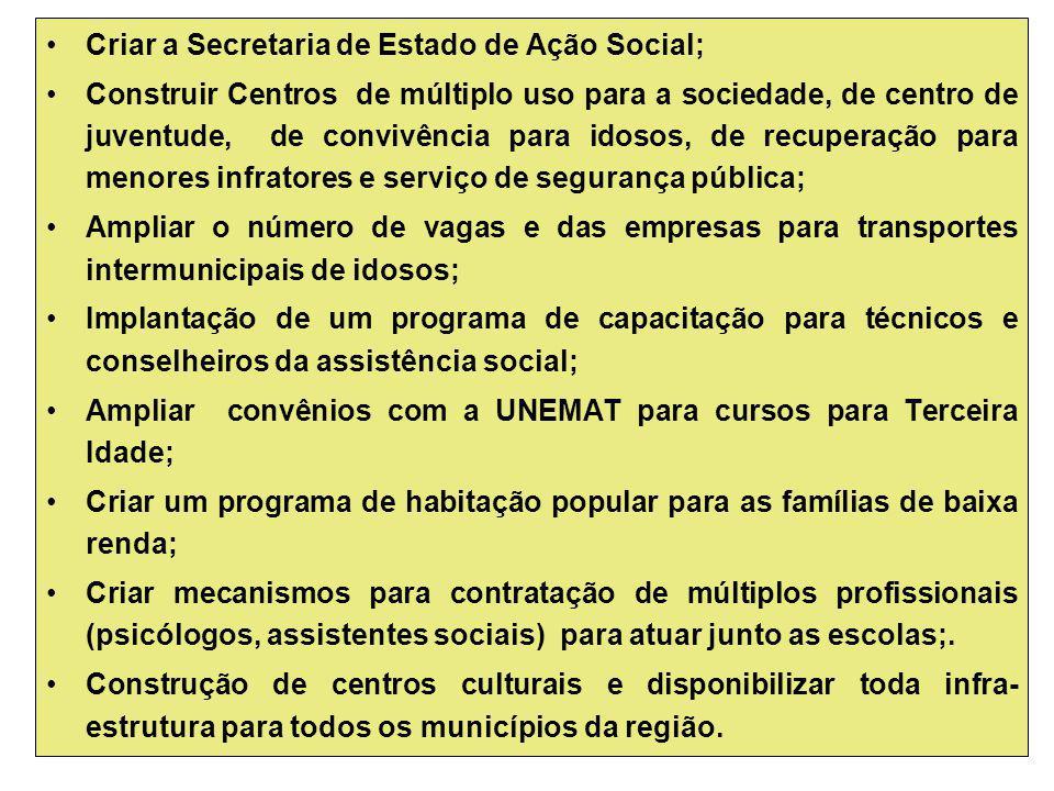 Criar a Secretaria de Estado de Ação Social; Construir Centros de múltiplo uso para a sociedade, de centro de juventude, de convivência para idosos, d