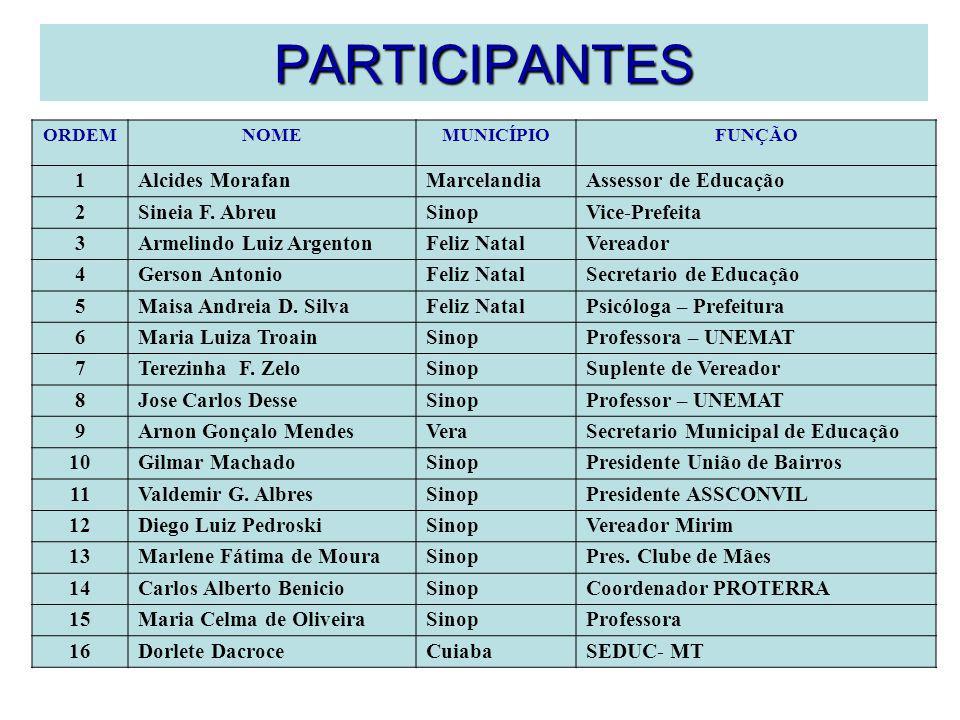 PARTICIPANTES ORDEMNOMEMUNICÍPIOFUNÇÃO 1Alcides MorafanMarcelandiaAssessor de Educação 2Sineia F. AbreuSinopVice-Prefeita 3Armelindo Luiz ArgentonFeli