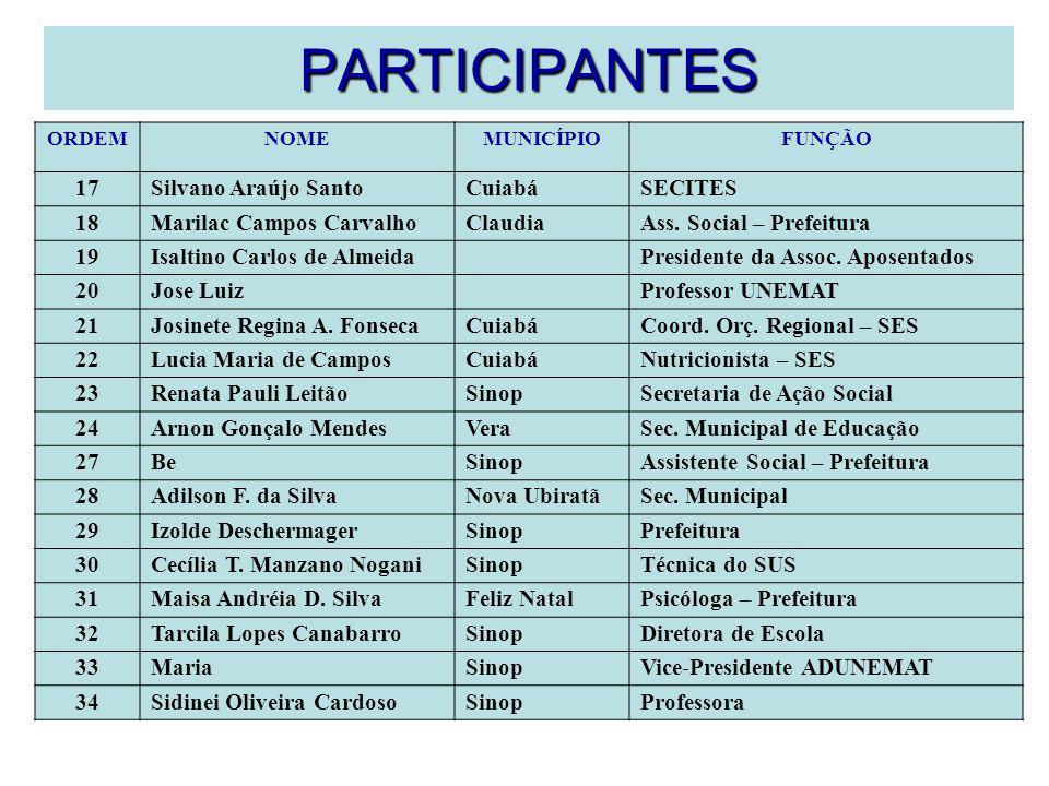 PARTICIPANTES ORDEMNOMEMUNICÍPIOFUNÇÃO 17Silvano Araújo SantoCuiabáSECITES 18Marilac Campos CarvalhoClaudiaAss. Social – Prefeitura 19Isaltino Carlos