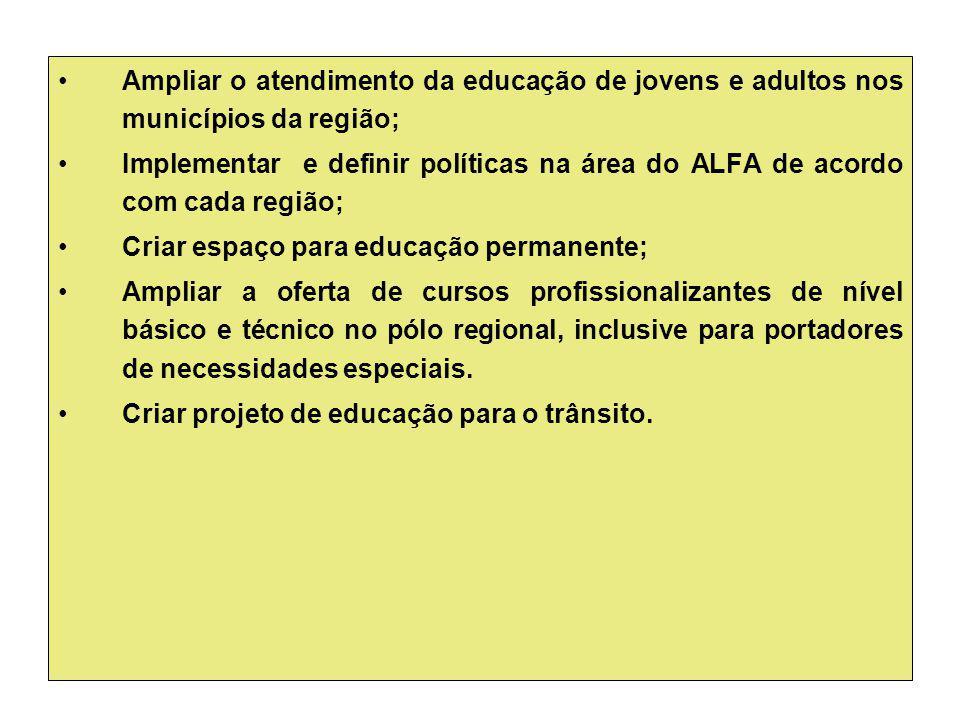 Ampliar o atendimento da educação de jovens e adultos nos municípios da região; Implementar e definir políticas na área do ALFA de acordo com cada reg