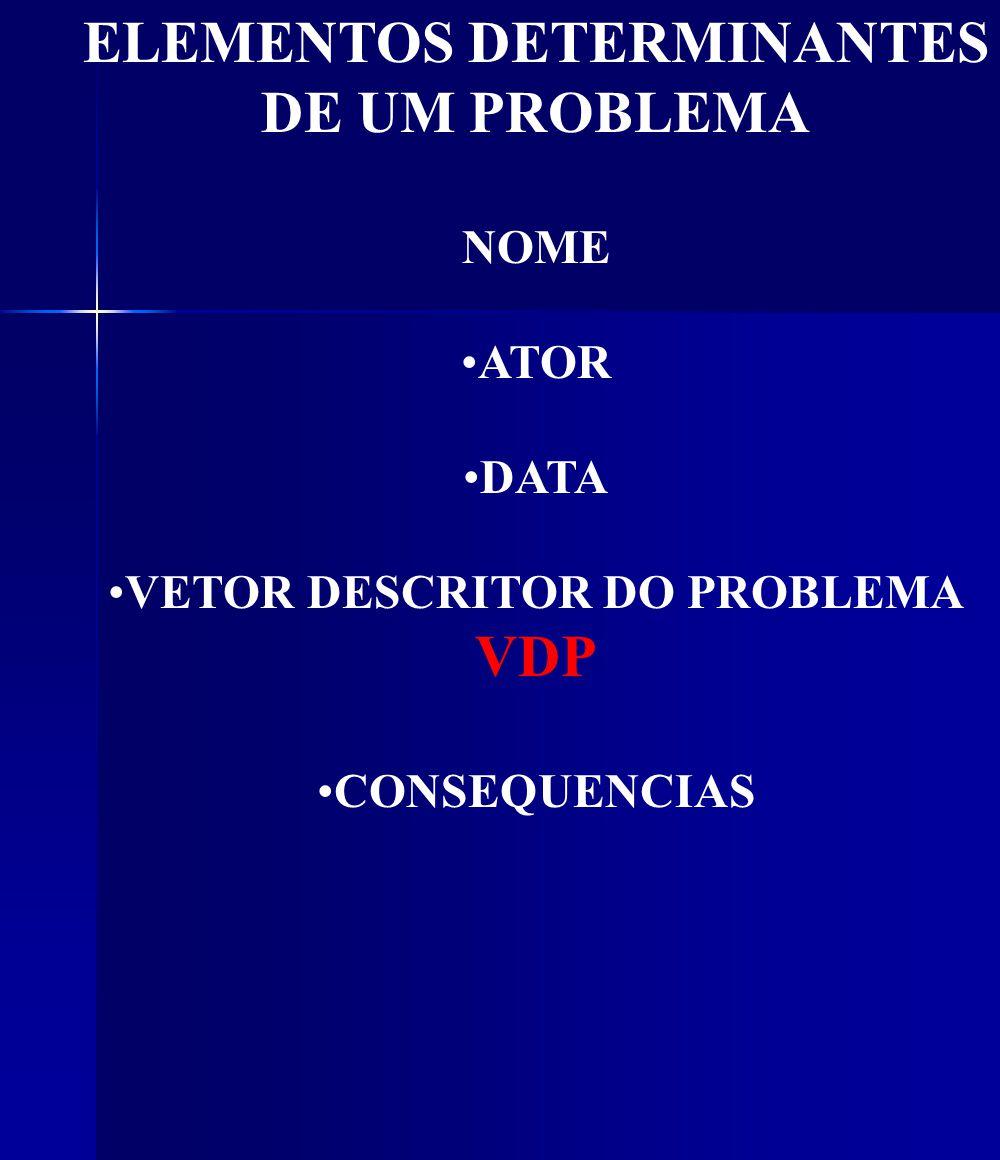 ELEMENTOS DETERMINANTES DE UM PROBLEMA NOME ATOR DATA VETOR DESCRITOR DO PROBLEMA VDP CONSEQUENCIAS