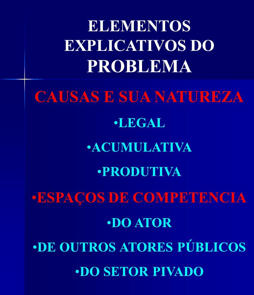 ELEMENTOS EXPLICATIVOS DO PROBLEMA CAUSAS E SUA NATUREZA LEGAL ACUMULATIVA PRODUTIVA ESPAÇOS DE COMPETENCIA DO ATOR DE OUTROS ATORES PÚBLICOS DO SETOR PIVADO