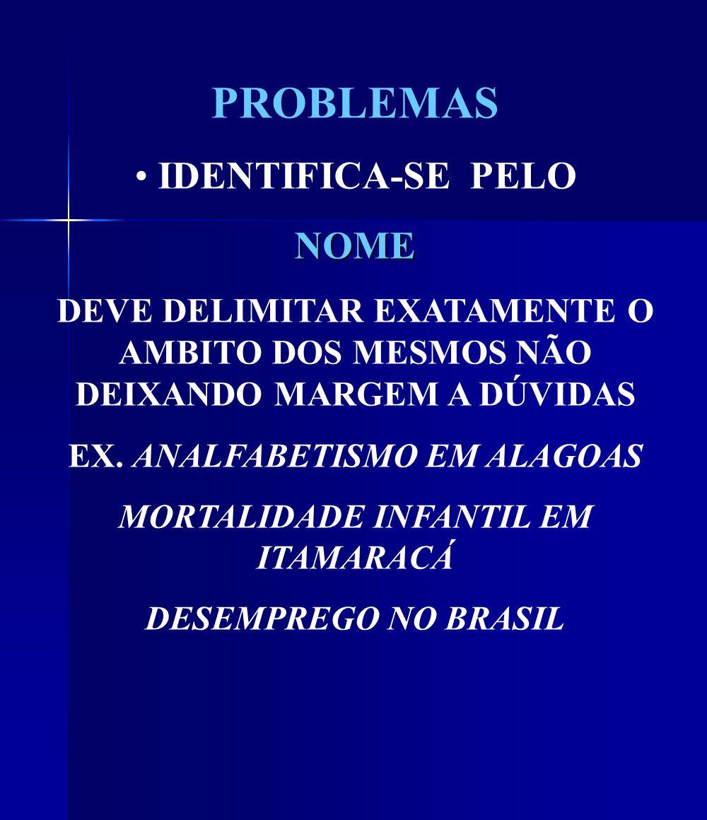 PROBLEMAS IDENTIFICA-SE PELONOME DEVE DELIMITAR EXATAMENTE O AMBITO DOS MESMOS NÃO DEIXANDO MARGEM A DÚVIDAS EX.