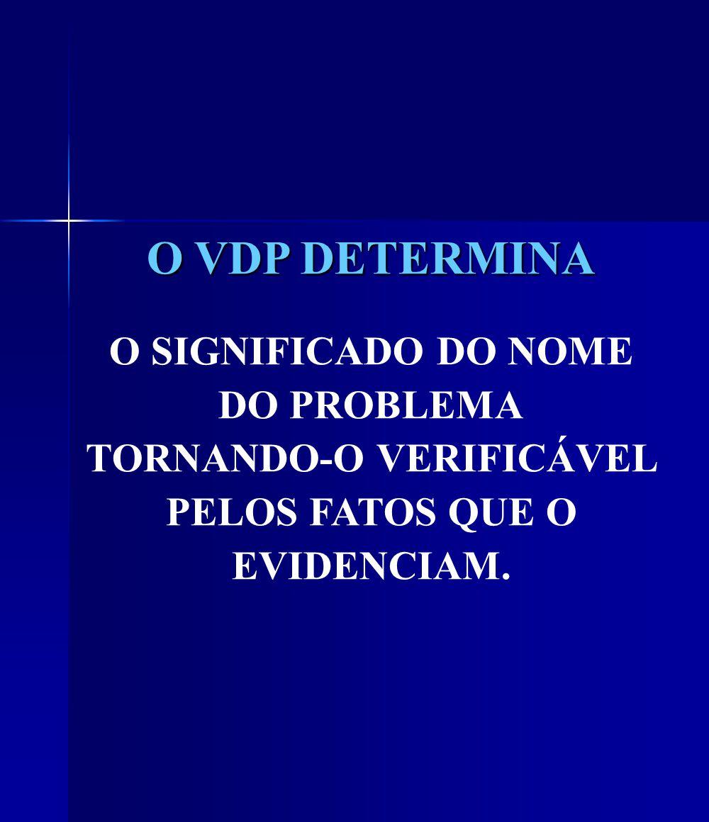 O VDP DETERMINA O SIGNIFICADO DO NOME DO PROBLEMA TORNANDO-O VERIFICÁVEL PELOS FATOS QUE O EVIDENCIAM.