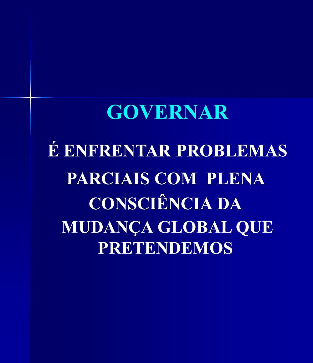 GOVERNAR É ENFRENTAR PROBLEMAS PARCIAIS COM PLENA CONSCIÊNCIA DA MUDANÇA GLOBAL QUE PRETENDEMOS