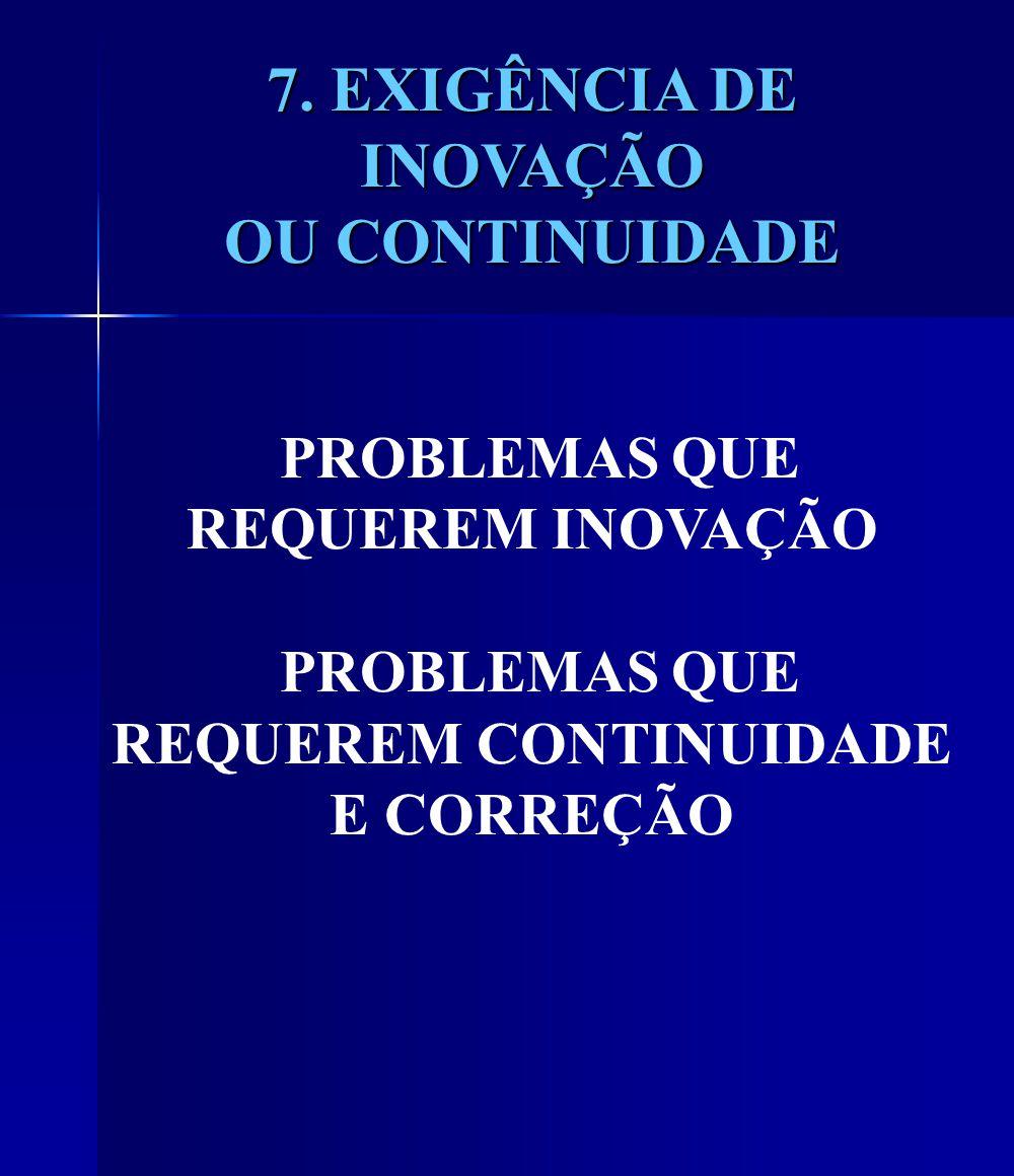 7. EXIGÊNCIA DE INOVAÇÃO OU CONTINUIDADE 7.