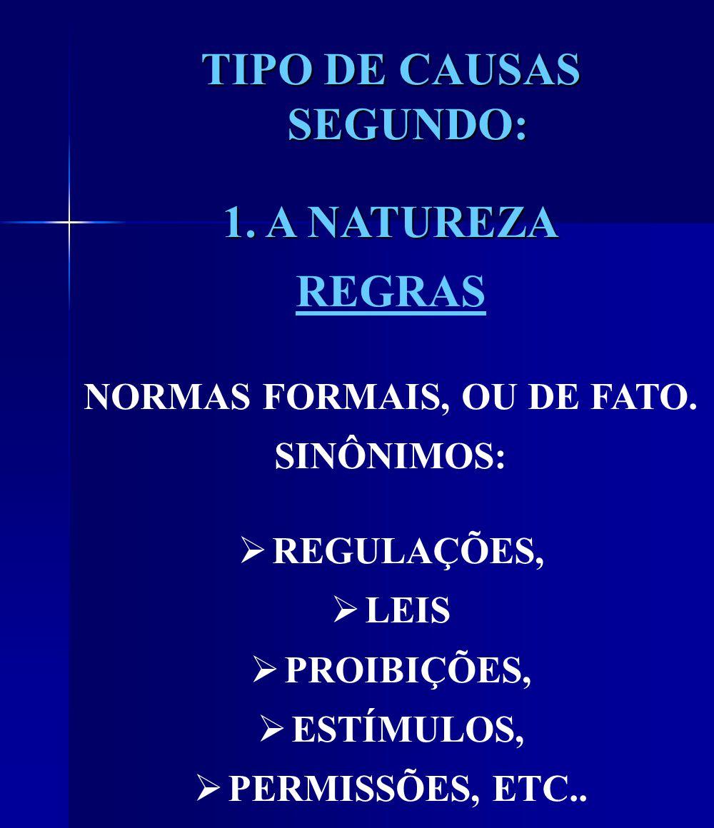 TIPO DE CAUSAS SEGUNDO: 1. A NATUREZA REGRAS NORMAS FORMAIS, OU DE FATO.