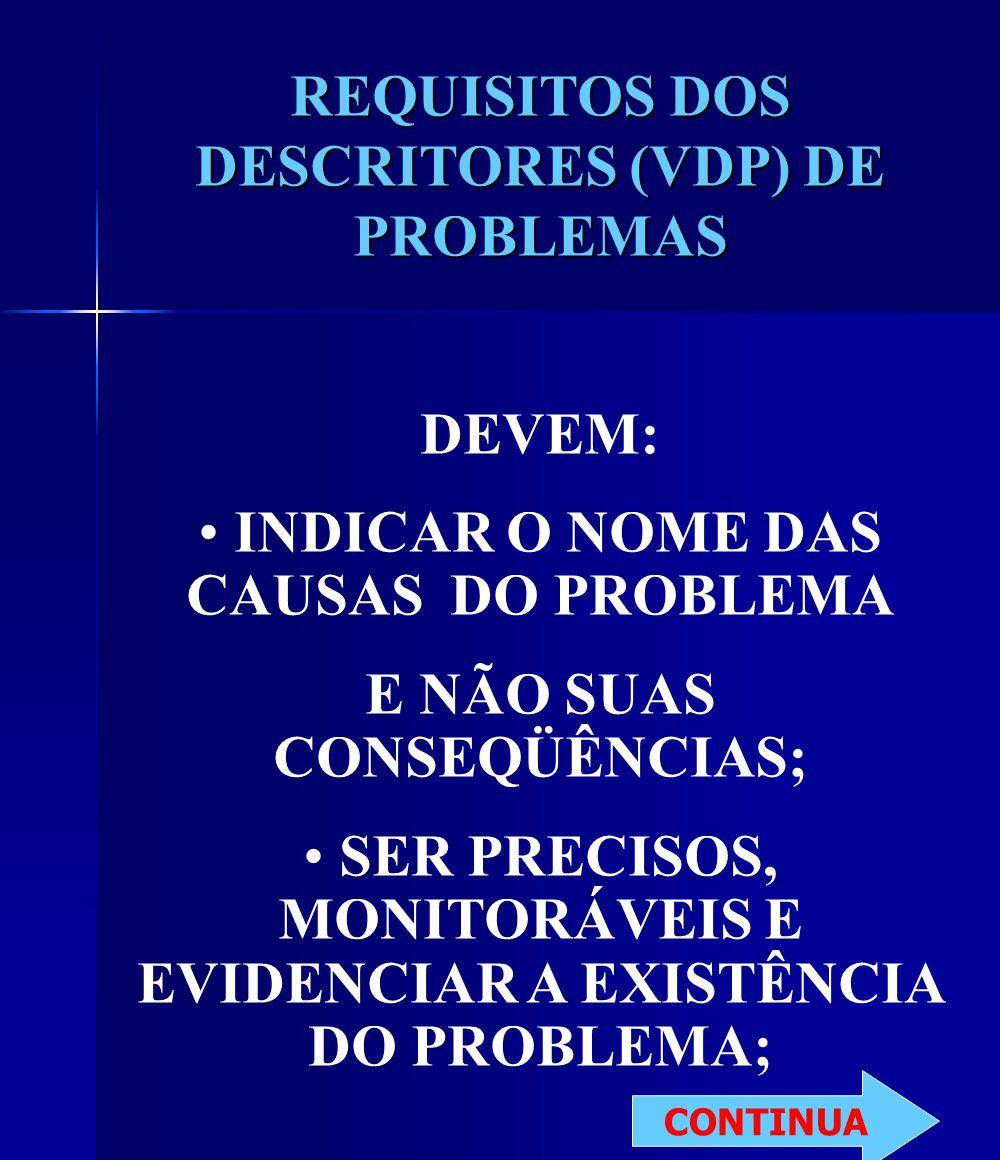 REQUISITOS DOS DESCRITORES (VDP) DE PROBLEMAS DEVEM: INDICAR O NOME DAS CAUSAS DO PROBLEMA E NÃO SUAS CONSEQÜÊNCIAS; SER PRECISOS, MONITORÁVEIS E EVIDENCIAR A EXISTÊNCIA DO PROBLEMA; CONTINUA