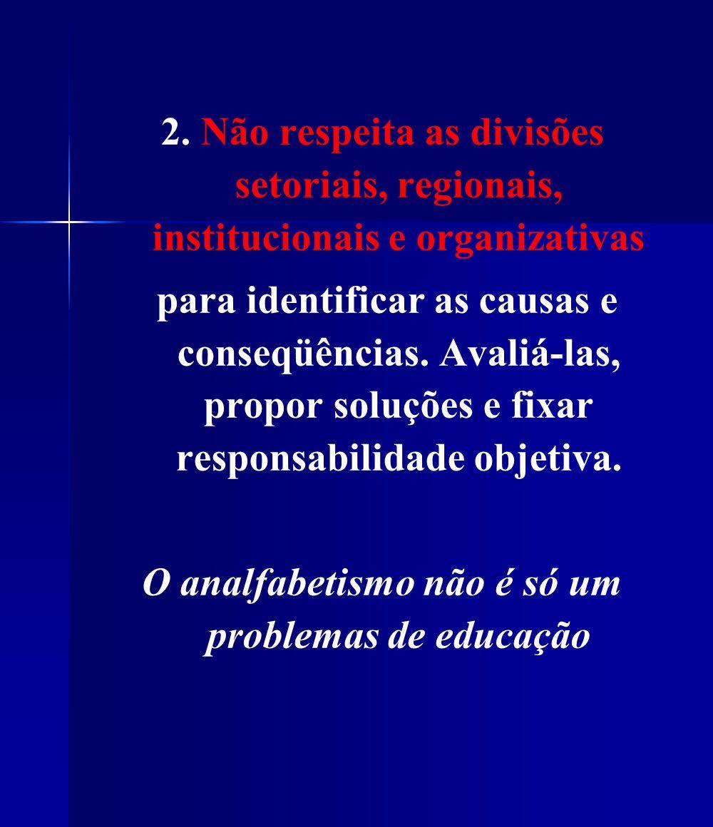 2. Não respeita as divisões setoriais, regionais, institucionais e organizativas para identificar as causas e conseqüências. Avaliá-las, propor soluçõ