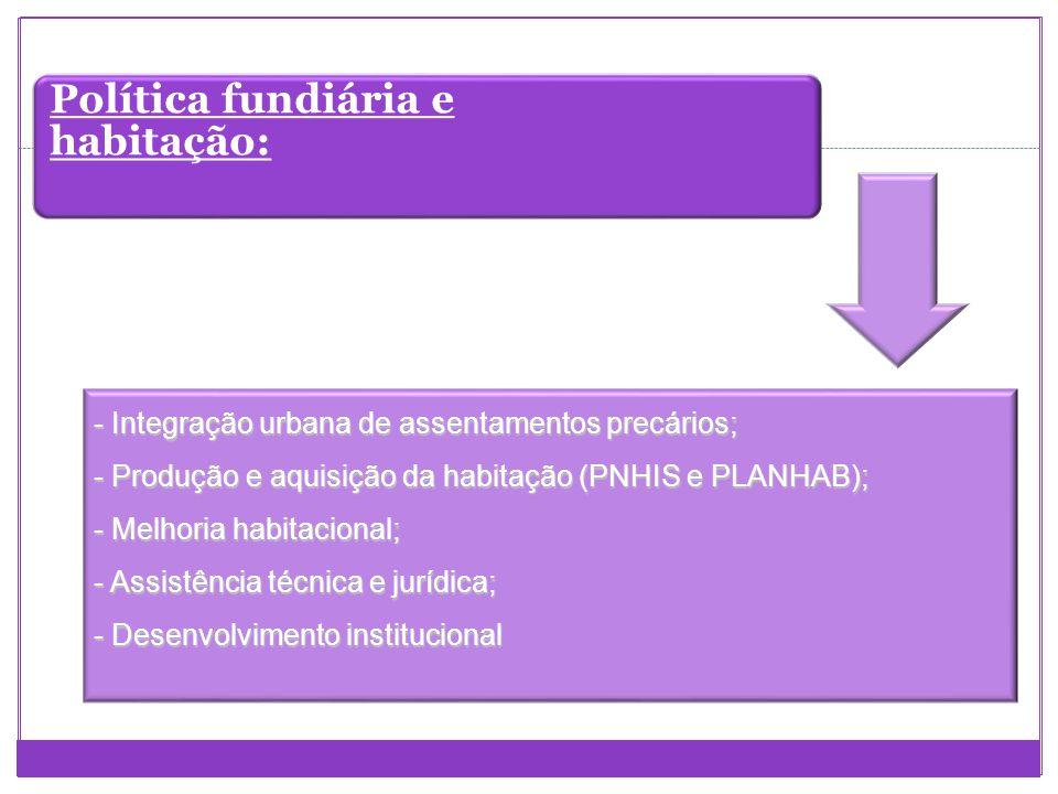 Política fundiária e habitação: -Integração urbana de assentamentos precários; - Produção e aquisição da habitação (PNHIS e PLANHAB); - Melhoria habit