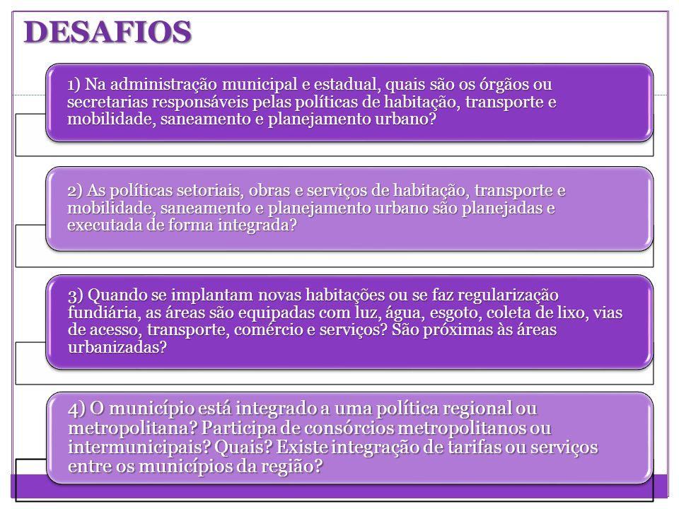 1) Na administração municipal e estadual, quais são os órgãos ou secretarias responsáveis pelas políticas de habitação, transporte e mobilidade, sanea