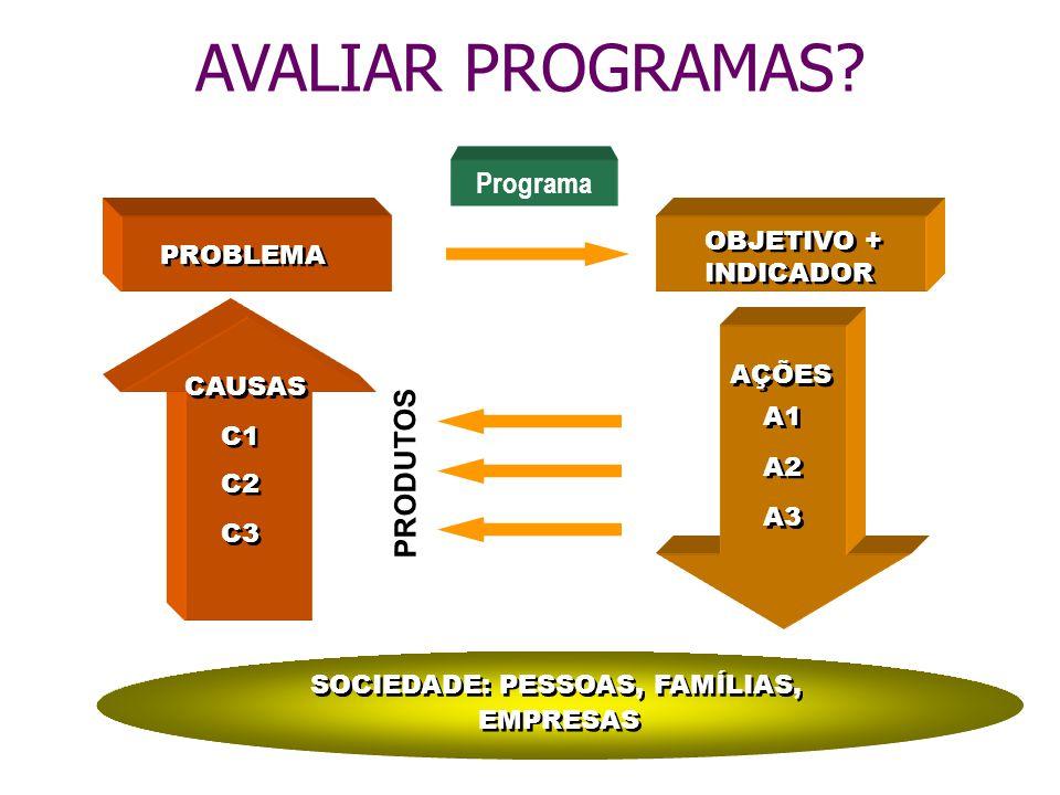 PROBLEMA CAUSAS C1 C2 C3 OBJETIVO + INDICADOR OBJETIVO + INDICADOR AÇÕES A1 A2 A3 SOCIEDADE: PESSOAS, FAMÍLIAS, EMPRESAS Programa AVALIAR PROGRAMAS? P