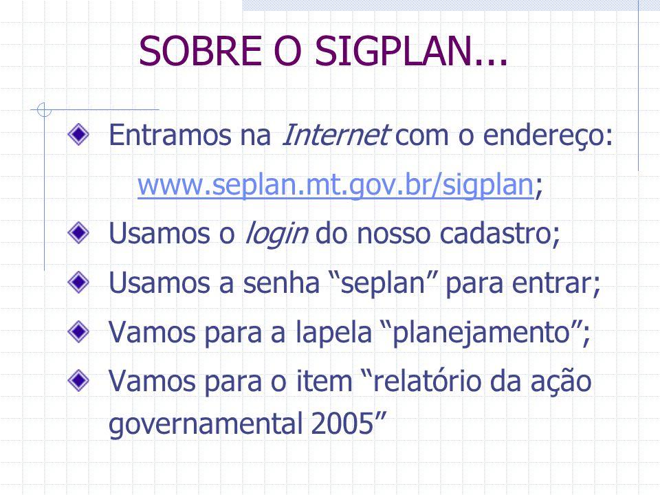 SOBRE O SIGPLAN... Entramos na Internet com o endereço: www.seplan.mt.gov.br/sigplanwww.seplan.mt.gov.br/sigplan; Usamos o login do nosso cadastro; Us