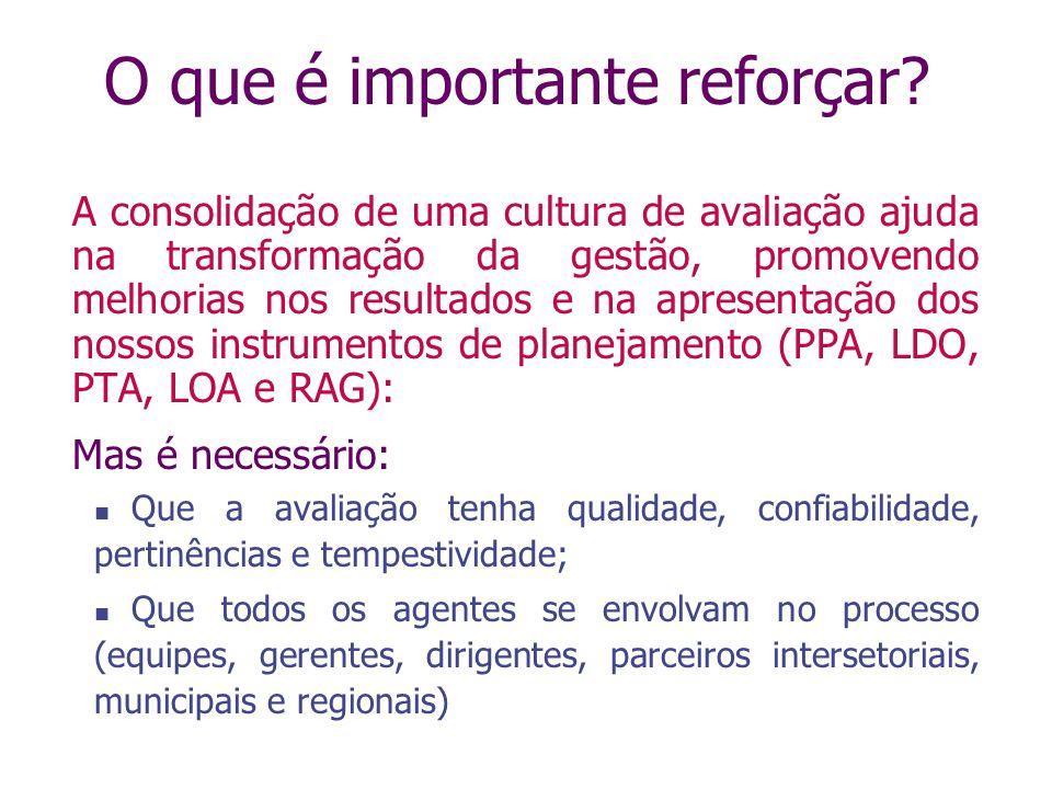 O que é importante reforçar? A consolidação de uma cultura de avaliação ajuda na transformação da gestão, promovendo melhorias nos resultados e na apr