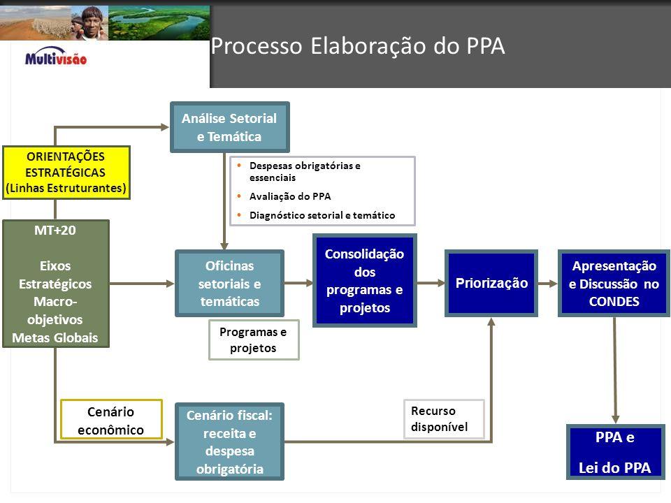 Programas e projetos Despesas obrigatórias e essenciais Avaliação do PPA Diagnóstico setorial e temático MT+20 Eixos Estratégicos Macro- objetivos Met