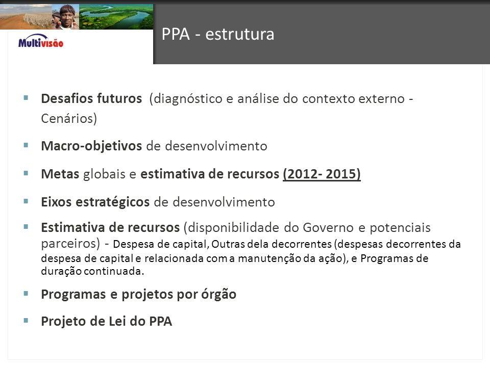 PPA - estrutura Desafios futuros (diagnóstico e análise do contexto externo - Cenários) Macro-objetivos de desenvolvimento Metas globais e estimativa