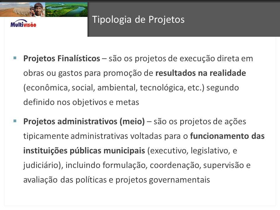 Tipologia de Projetos Projetos Finalísticos – são os projetos de execução direta em obras ou gastos para promoção de resultados na realidade (econômic