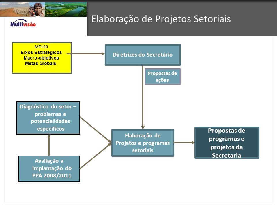 Avaliação a implantação do PPA 2008/2011 Diretrizes do Secretário Elaboração de Projetos e programas setoriais Diagnóstico do setor – problemas e pote
