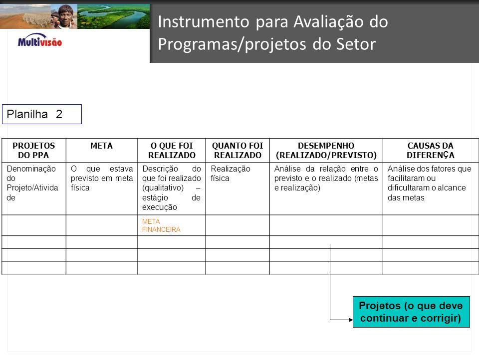 Instrumento para Avaliação do Programas/projetos do Setor PROJETOS DO PPA METAO QUE FOI REALIZADO QUANTO FOI REALIZADO DESEMPENHO (REALIZADO/PREVISTO)