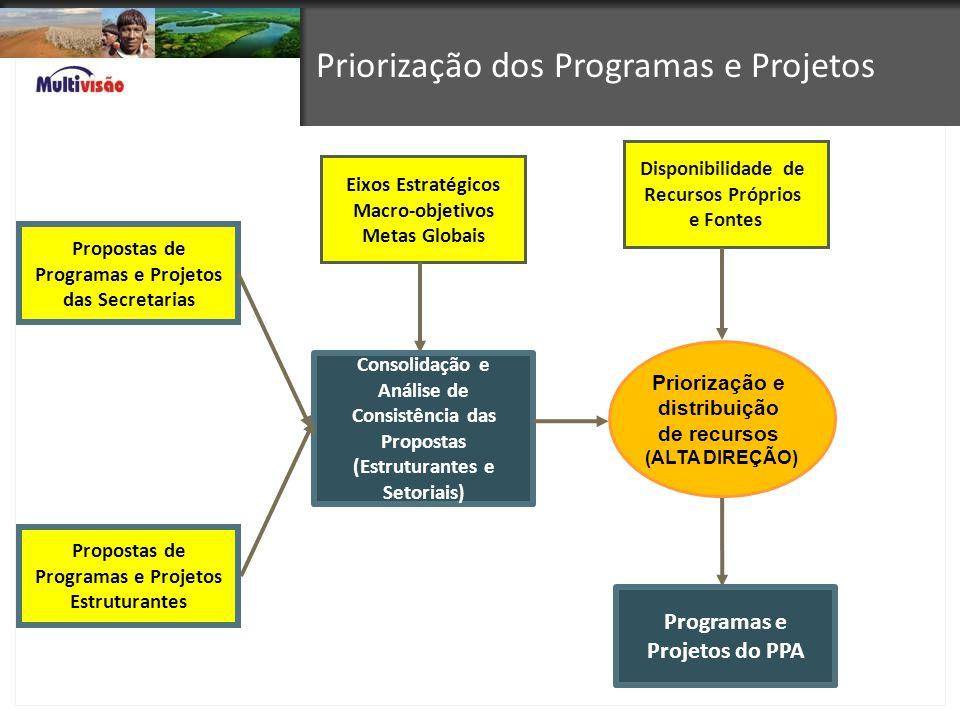 Priorização dos Programas e Projetos Propostas de Programas e Projetos das Secretarias Eixos Estratégicos Macro-objetivos Metas Globais Disponibilidad