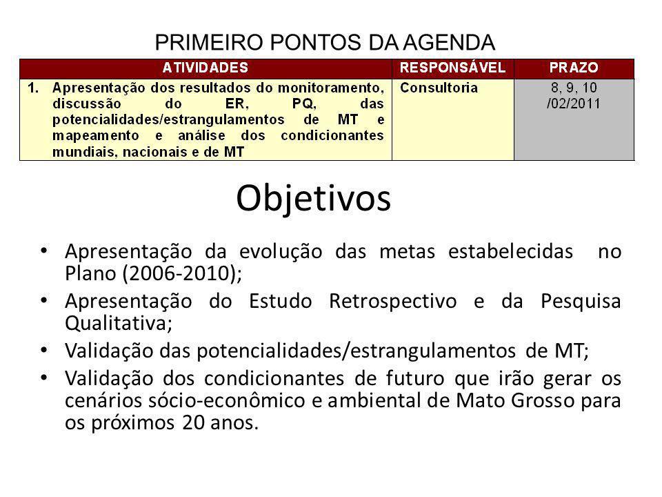 Apresentação da evolução das metas estabelecidas no Plano (2006-2010); Apresentação do Estudo Retrospectivo e da Pesquisa Qualitativa; Validação das potencialidades/estrangulamentos de MT; Validação dos condicionantes de futuro que irão gerar os cenários sócio-econômico e ambiental de Mato Grosso para os próximos 20 anos.