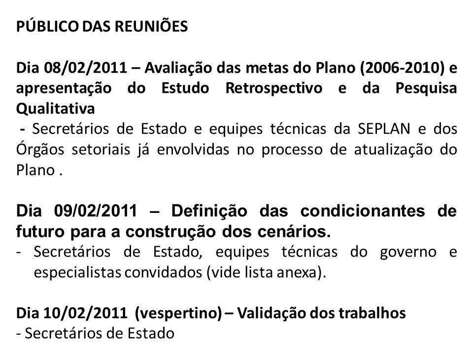 PÚBLICO DAS REUNIÕES Dia 08/02/2011 – Avaliação das metas do Plano (2006-2010) e apresentação do Estudo Retrospectivo e da Pesquisa Qualitativa - Secr
