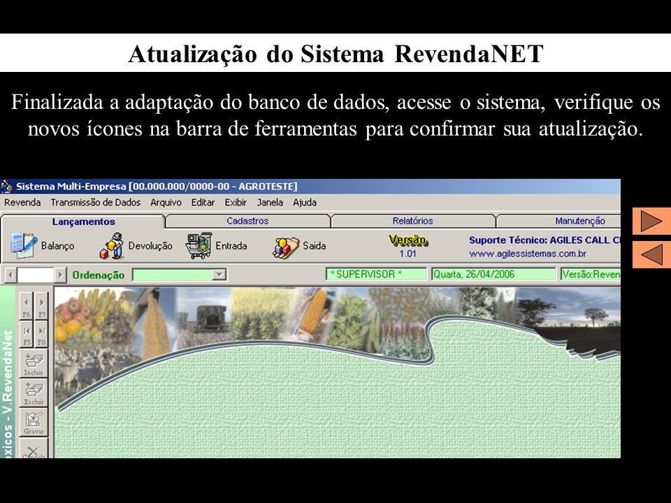 Atualização do Sistema RevendaNET Finalizada a adaptação do banco de dados, acesse o sistema, verifique os novos ícones na barra de ferramentas para c