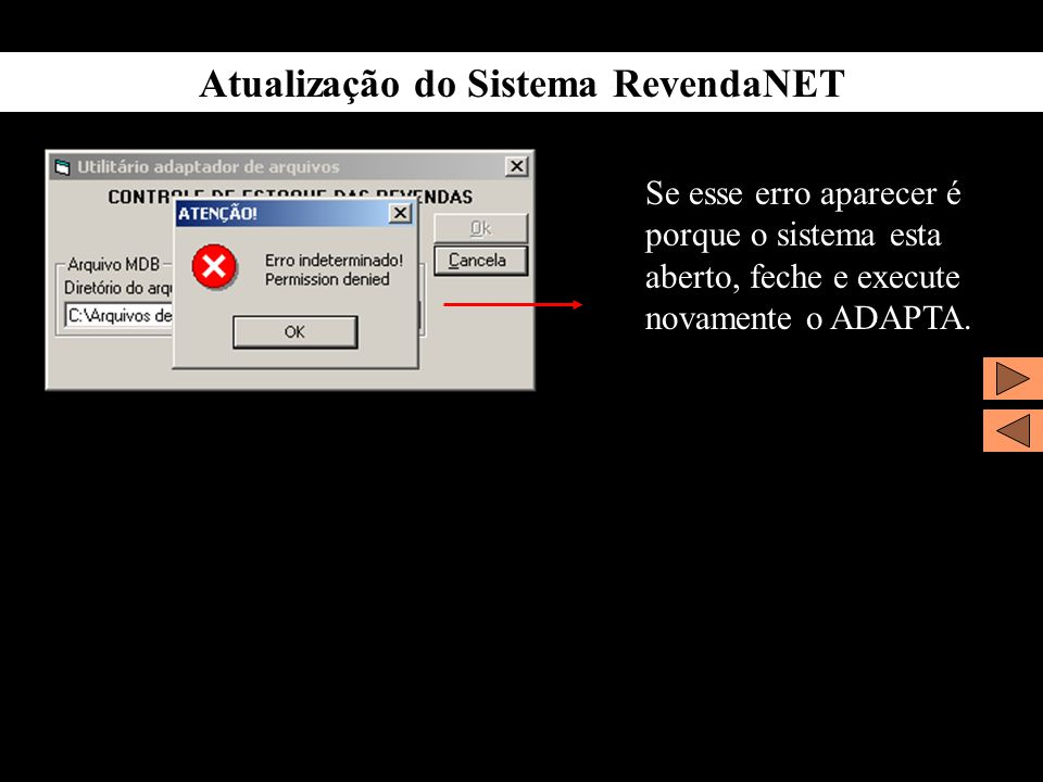 Atualização do Sistema RevendaNET Se esse erro aparecer é porque o sistema esta aberto, feche e execute novamente o ADAPTA.