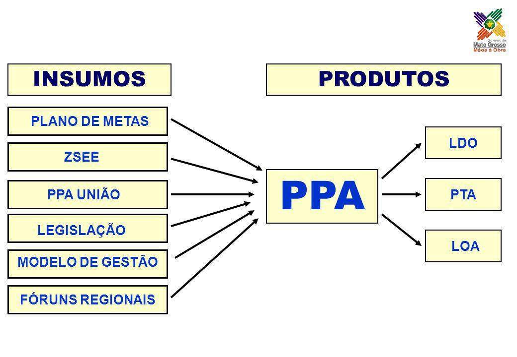 INSUMOS PPA PRODUTOS PLANO DE METAS ZSEE PPA UNIÃO LEGISLAÇÃO MODELO DE GESTÃO FÓRUNS REGIONAIS LDO PTA LOA