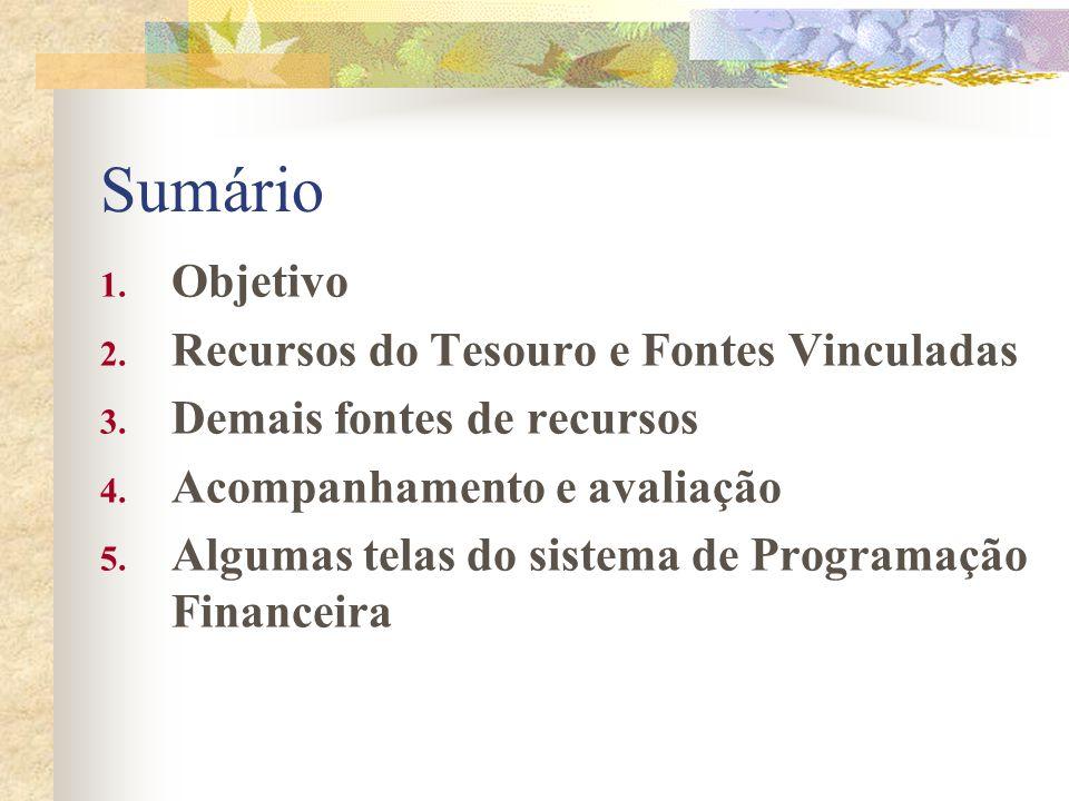 Apresentar os principais aspectos do novo sistema de Programação Financeira 1. Objetivo