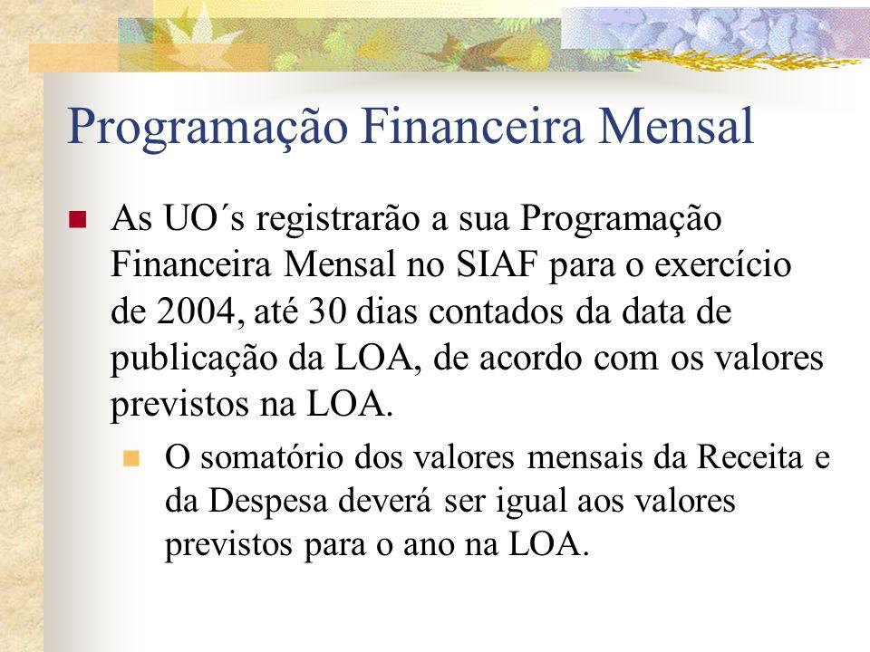 A Gerência de Análise e Acompanhamento da Receita (GACR/SAGEF/SEFAZ) registrará no SIAF, até o dia 20 de cada mês, a Previsão Diária da Receita para o mês subseqüente, por fonte de recurso e UO.