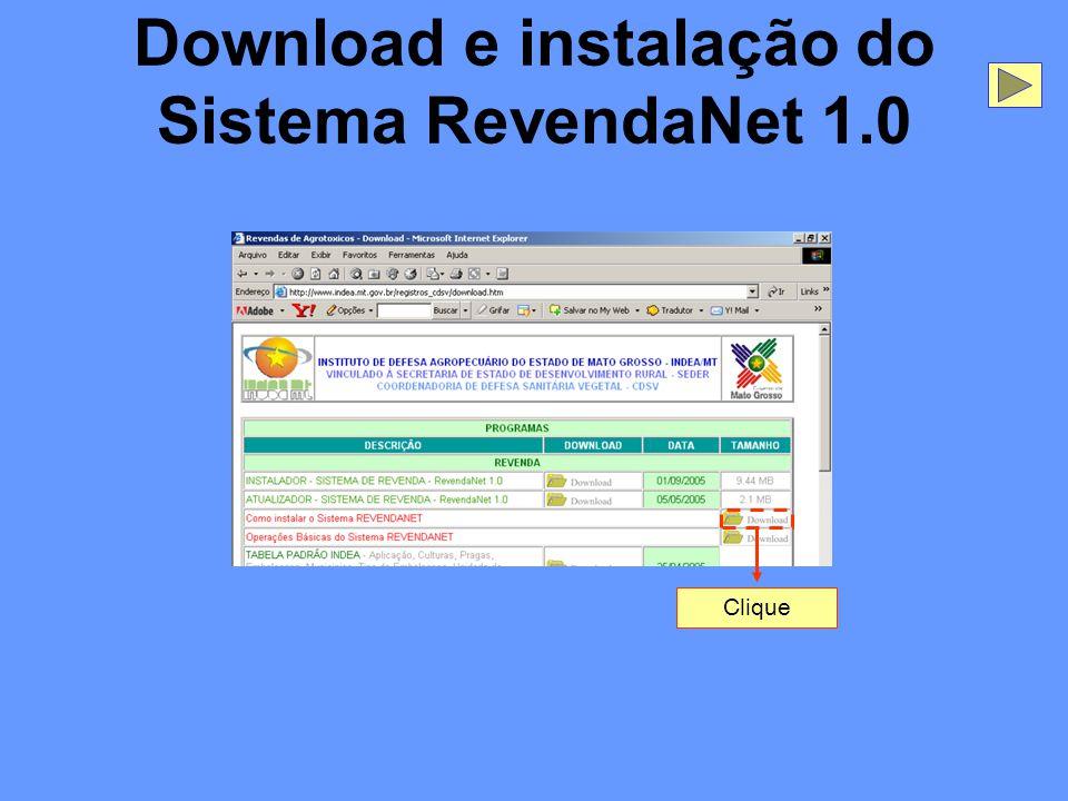 Download e instalação do Sistema RevendaNet 1.0 Clique