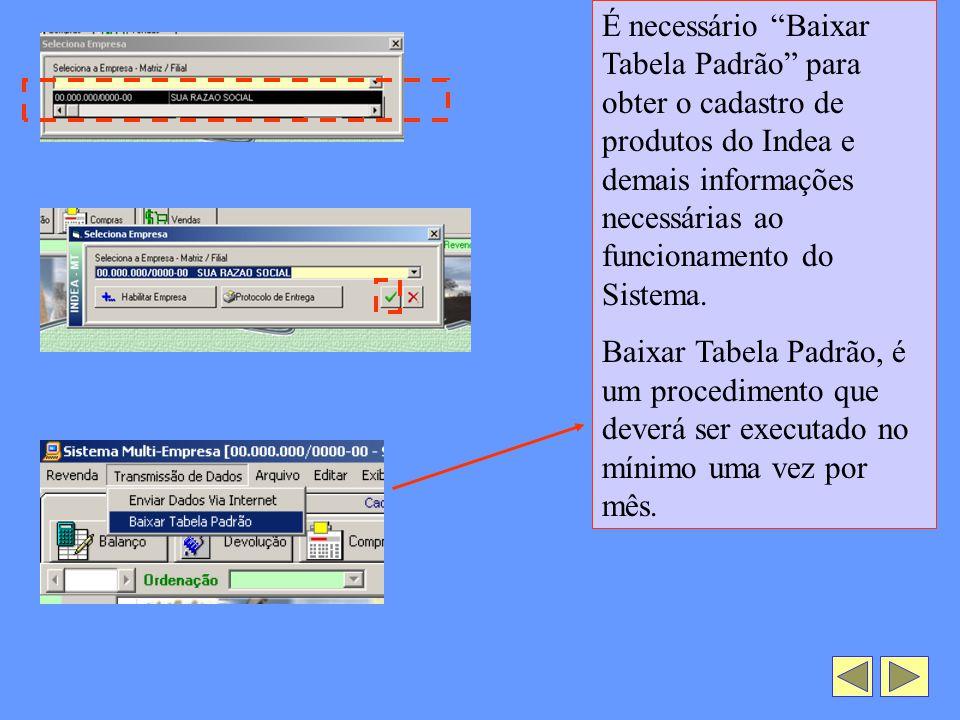 É necessário Baixar Tabela Padrão para obter o cadastro de produtos do Indea e demais informações necessárias ao funcionamento do Sistema.