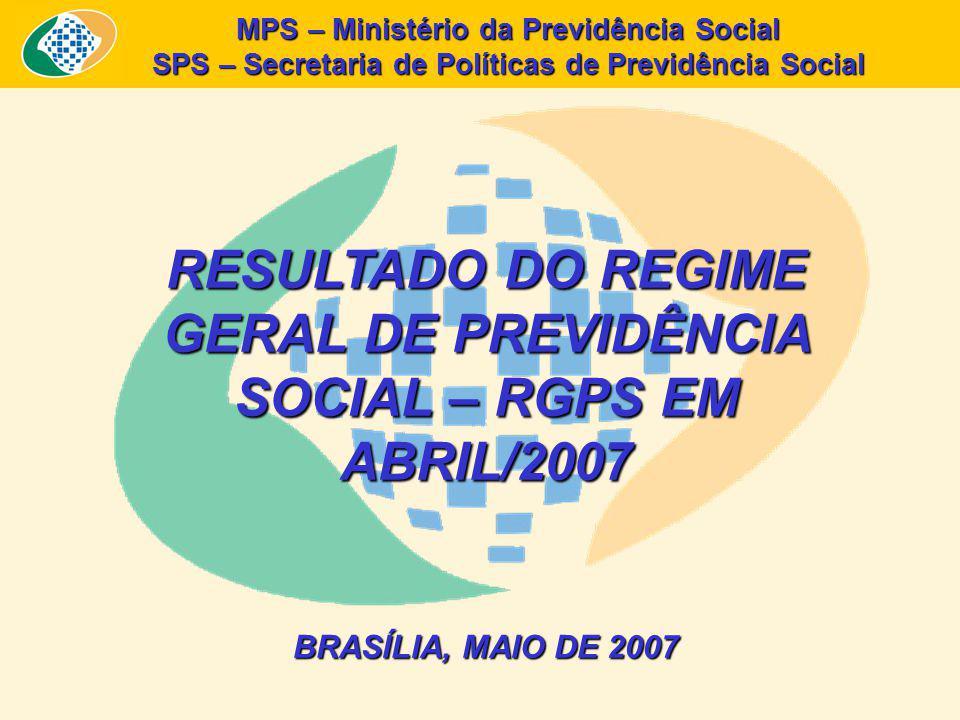 MPS – Ministério da Previdência Social SPS – Secretaria de Políticas de Previdência Social RESULTADO DO REGIME GERAL DE PREVIDÊNCIA SOCIAL – RGPS EM ABRIL/2007 BRASÍLIA, MAIO DE 2007