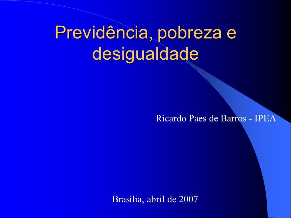 Previdência, pobreza e desigualdade Brasília, abril de 2007 Ricardo Paes de Barros - IPEA