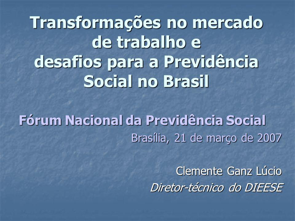 Transformações no mercado de trabalho e desafios para a Previdência Social no Brasil Fórum Nacional da Previdência Social Brasília, 21 de março de 200