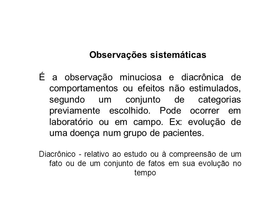 Observações sistemáticas É a observação minuciosa e diacrônica de comportamentos ou efeitos não estimulados, segundo um conjunto de categorias previam