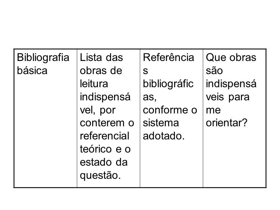 Bibliografia básica Lista das obras de leitura indispensá vel, por conterem o referencial teórico e o estado da questão. Referência s bibliográfic as,