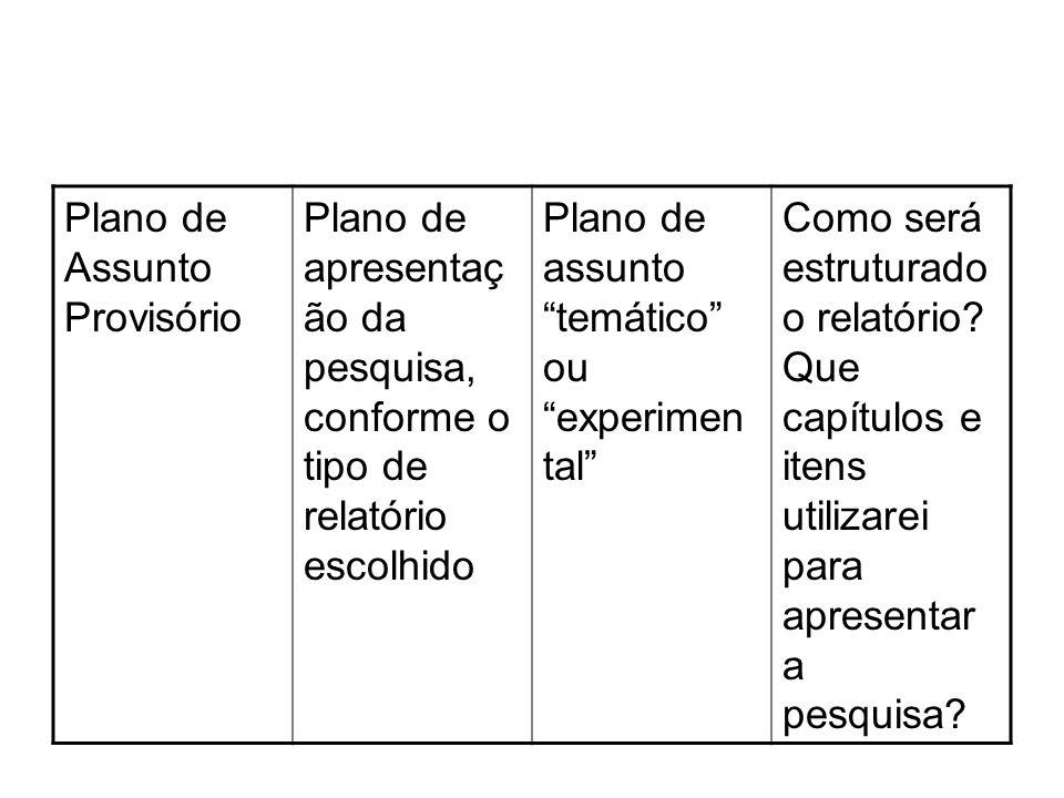Plano de Assunto Provisório Plano de apresentaç ão da pesquisa, conforme o tipo de relatório escolhido Plano de assunto temático ou experimen tal Como