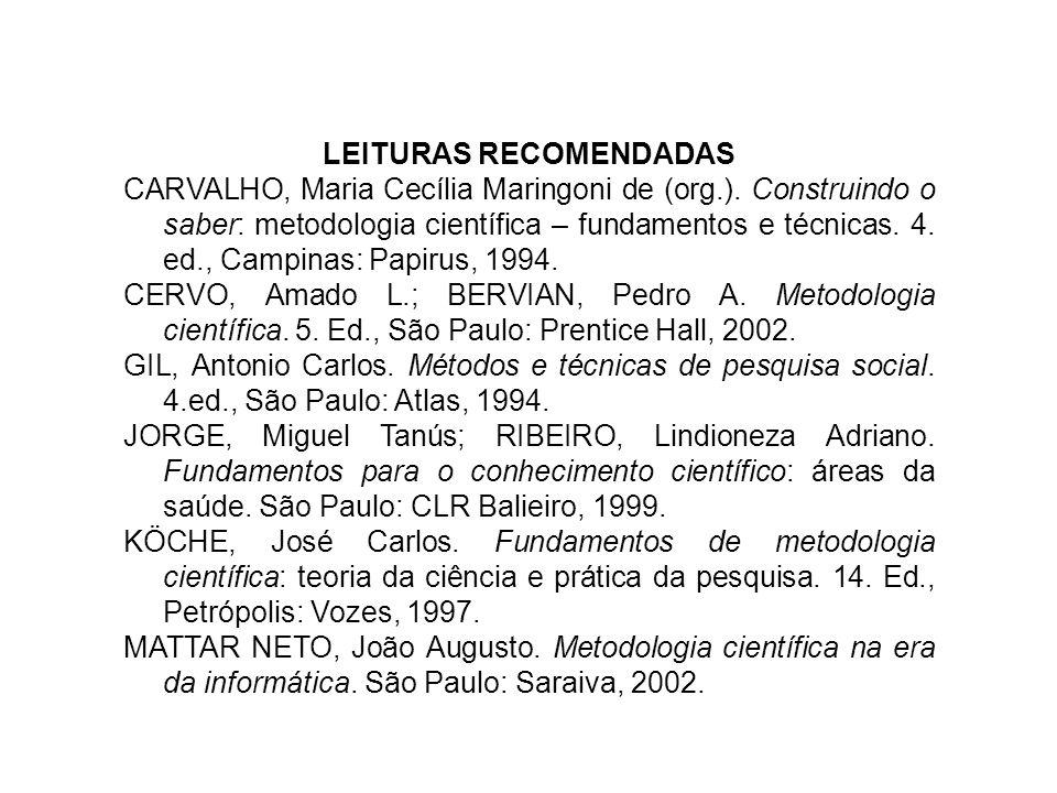 LEITURAS RECOMENDADAS CARVALHO, Maria Cecília Maringoni de (org.). Construindo o saber: metodologia científica – fundamentos e técnicas. 4. ed., Campi