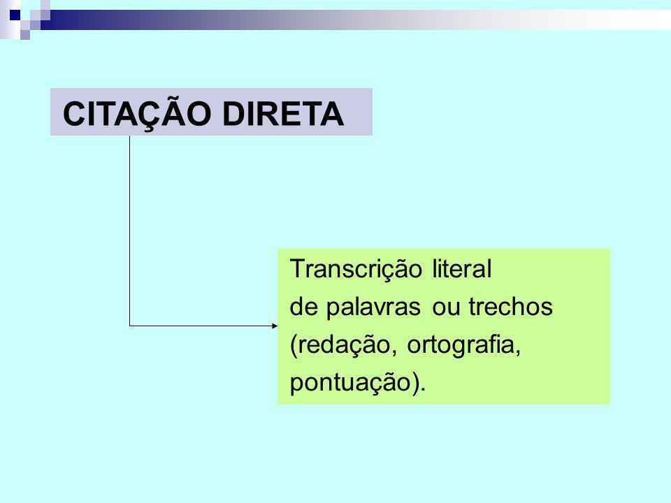CITAÇÃO DIRETA Transcrição literal de palavras ou trechos (redação, ortografia, pontuação).