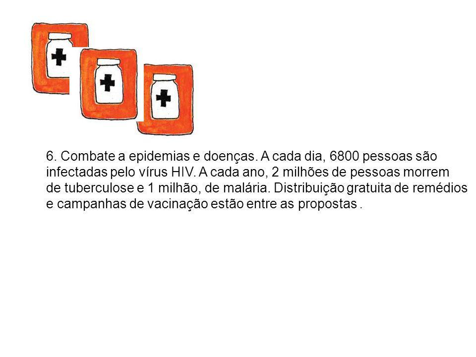 6. Combate a epidemias e doenças. A cada dia, 6800 pessoas são infectadas pelo vírus HIV. A cada ano, 2 milhões de pessoas morrem de tuberculose e 1 m
