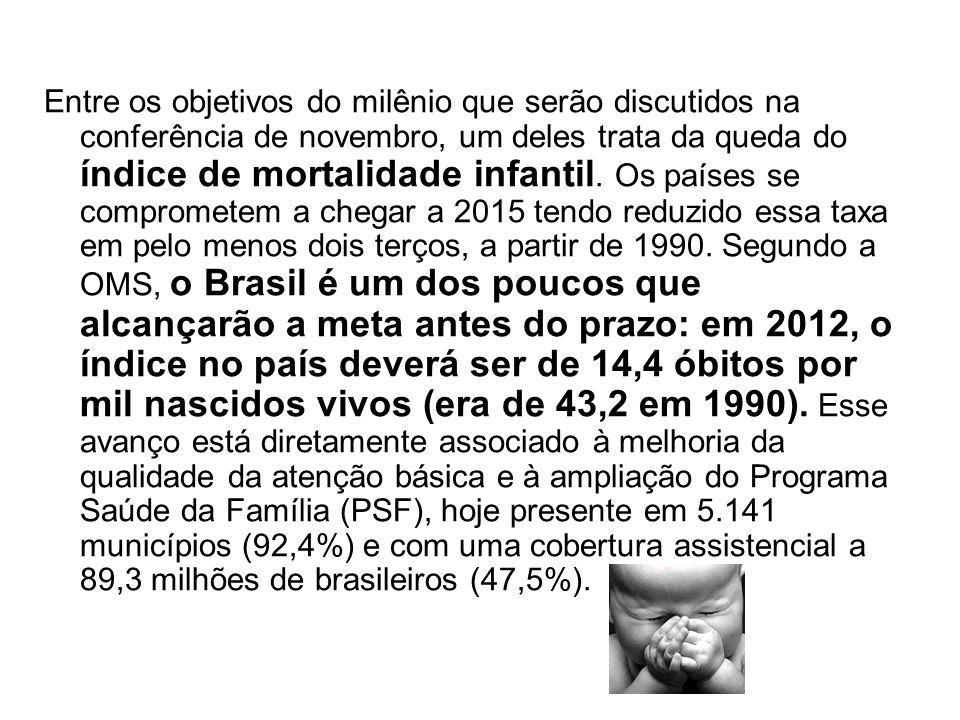 Metas do Milênio: Brasil vai sediar Entre os objetivos do milênio que serão discutidos na conferência de novembro, um deles trata da queda do índice d