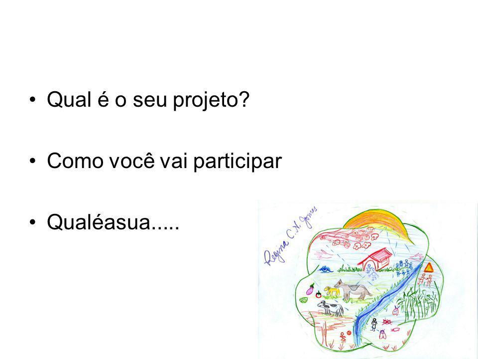 Qual é o seu projeto? Como você vai participar Qualéasua.....