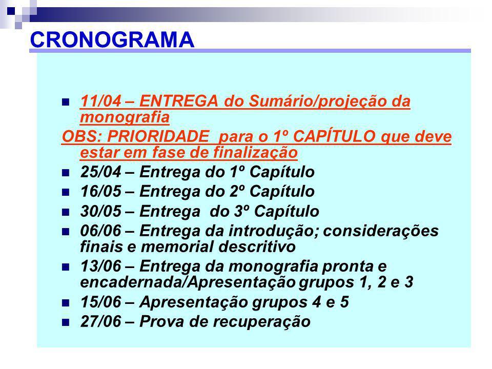 11/04 – ENTREGA do Sumário/projeção da monografia OBS: PRIORIDADE para o 1º CAPÍTULO que deve estar em fase de finalização 25/04 – Entrega do 1º Capít