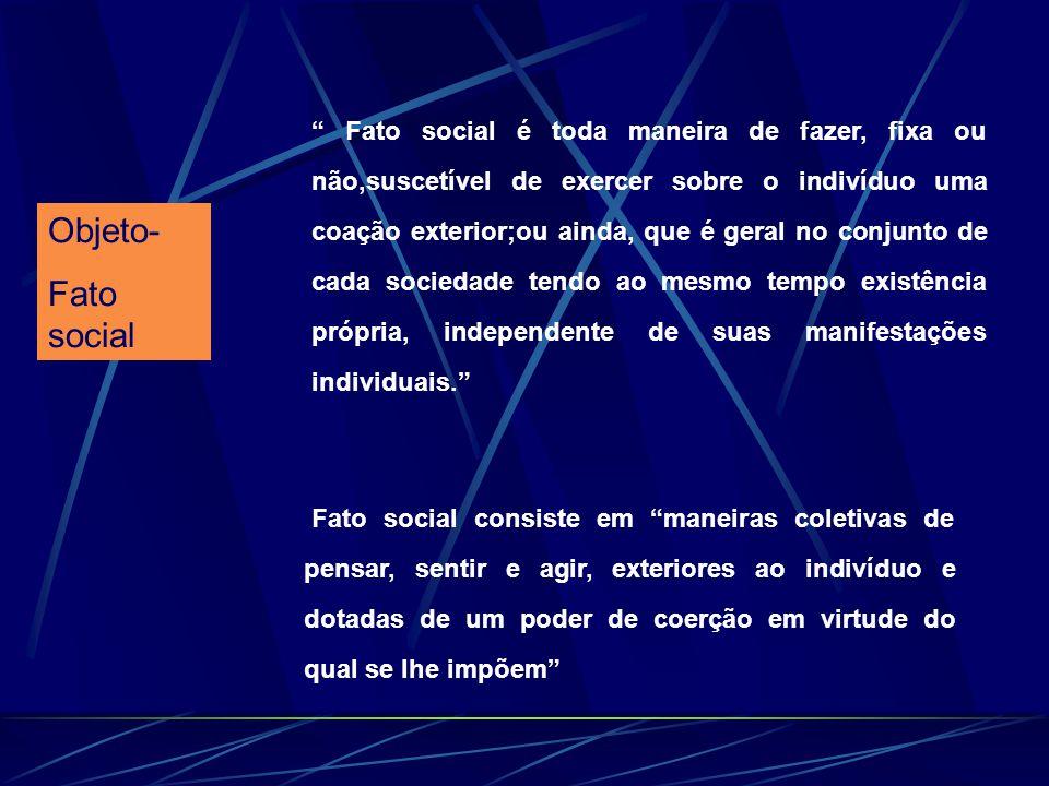 Objeto- Fato social Fato social é toda maneira de fazer, fixa ou não,suscetível de exercer sobre o indivíduo uma coação exterior;ou ainda, que é geral